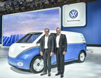 Dr. Thomas Sedran, Chairman of the Board of Management Volkswagen Commercial Vehicles, and Heinz-Jürgen Löw, Member of the Board for Sales and Marketing Volkswagen Commercial Vehicles, are presenting the study I.D. BUZZ CARGO at the IAA. (PRNewsfoto/VW Volkswagen Nutzfahrzeuge AG)