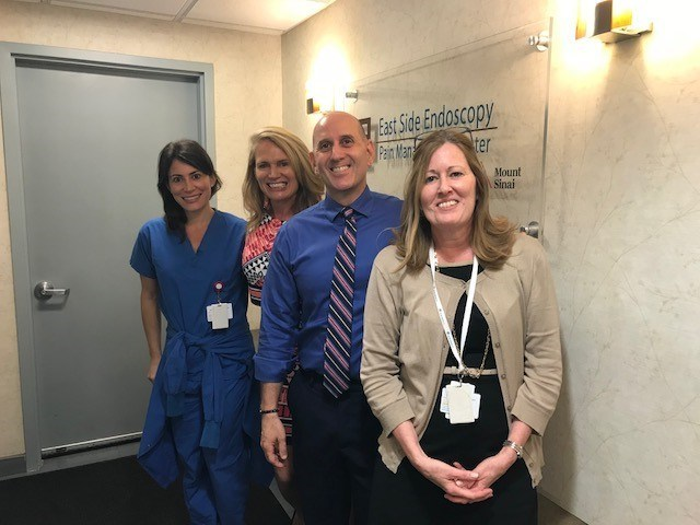 (L-R: Courtney Trebing, ESNY Director of Nursing; Teresa Chaisson, PE Director of Clinical Support, Physicians Endoscopy; Assemblymember Harvey Epstein (NY-74); Helen Lowenwirth, ESNY Administrator)