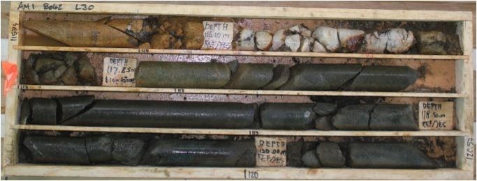Aamurusko Main; Drillhole AM18042; 789.06 g/t Au over 2.9 m from 116.10 to 119.00;  1.1 m lost core in zone (CNW Group/Aurion Resources Ltd.)
