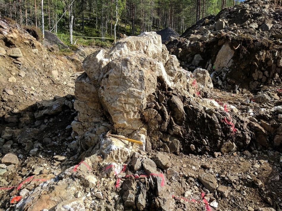 Aamurusko West; Quartz veins in trench. (CNW Group/Aurion Resources Ltd.)