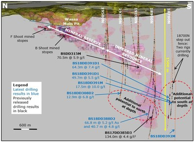 Wassa Underground: Isometric view looking East showing results of both step out and extension drilling programs(1) (CNW Group/Golden Star Resources Ltd.)