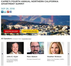 CAPRE's National Multifamily Investment Series will host its Fourth Annual Northern California Apartment Summit on September 26 at UCSF Mission Bay Conference Center. All of the most active developers, investors, capital sources, architects, engineers from San Francisco, South Bay, East Bay will attend and participate. (PRNewsfoto/CAPRE)