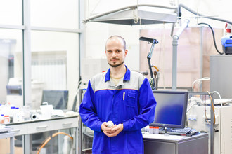 Co-author of the research Anton Konopatsky in the laboratory (PRNewsfoto/NUST MISIS)