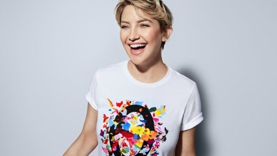 Kate Hudson in Michael Kors' Watch Hunger Stop T-Shirt; artwork by Eli Sudbrack