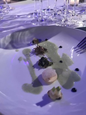Oyster with Fennel Sauce, Black Garlic, Apple, Seaweed, Champignon Mushrooms, Distilled Earth Essence, and Sea Anemone Sauce