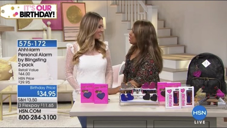 CEO of Blingsting, Andi Atteberry, presents her personal safety line with HSN host Marlo Smith. The brand's bold, positive approach to self-defense and on-trend designs are hitting the mark with loyal HSN customers. From pepper spray, to emergency escape hammers, Blingsting is infusing energy and creativity in a historically bland and masculine product category.