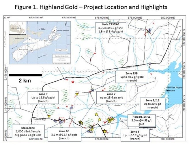 Figure 1. Highland Gold - Project Location and Highlights (CNW Group/Transition Metals Corp.)