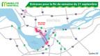 Entraves pour la fin de semaine du 21 septembre (Groupe CNW/Ministère des Transports, de la Mobilité durable et de l'Électrification des transports)