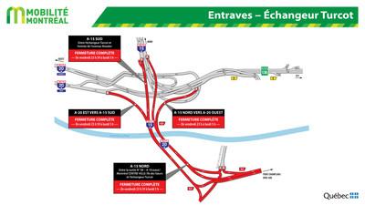 Entrave dans l'échangeur Turcot (Groupe CNW/Ministère des Transports, de la Mobilité durable et de l'Électrification des transports)