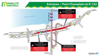Entraves ? Pont Champlain et R-132 (Groupe CNW/Ministère des Transports, de la Mobilité durable et de l'Électrification des transports)