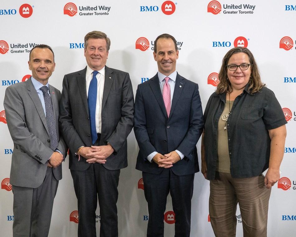 Daniele Zanotti, President and CEO, United Way Greater Toronto; John Tory, Mayor of Toronto; Darryl White, Chief Executive Officer, BMO Financial Group; Axelle Janczur, Executive Director, Access Alliance (CNW Group/BMO Financial Group)
