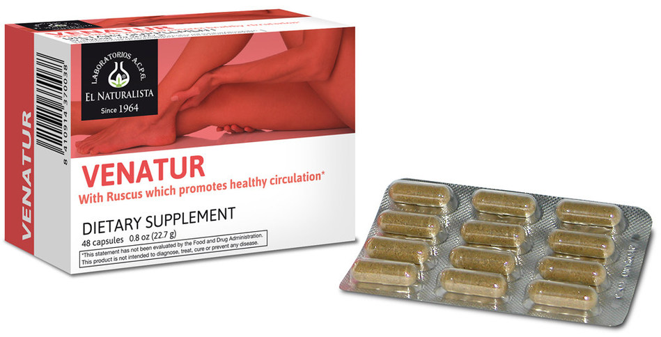 Venatur is a natural dietary supplement based on traditional herbs that serves as vasoconstrictor and as anti-inflammatory.