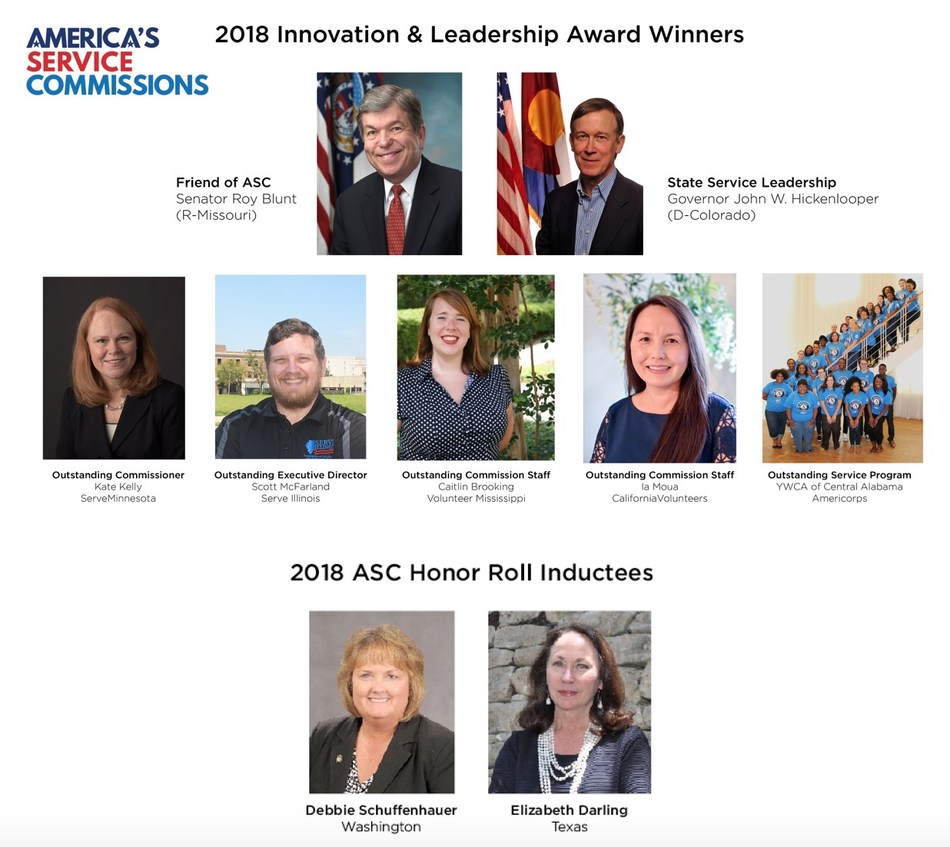 Nine leaders from across the United States were awarded top honors from America's Service Commissions at a ceremony last week in the Washington, DC area.