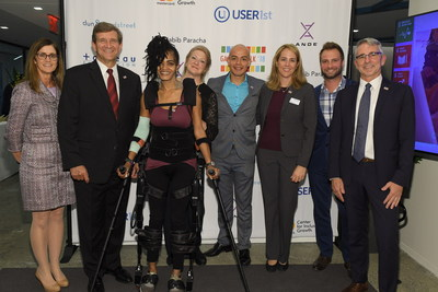 Chris Hill, Chief Legal officer and Head of Global Corporate Citizenship, and Tom Manning, CEO of Dun & Bradstreet (Left); Members of the Kessler Foundation team demonstrating robotic exoskeleton (center); Neal Myrick, Global Head of Tableau Foundation (right).