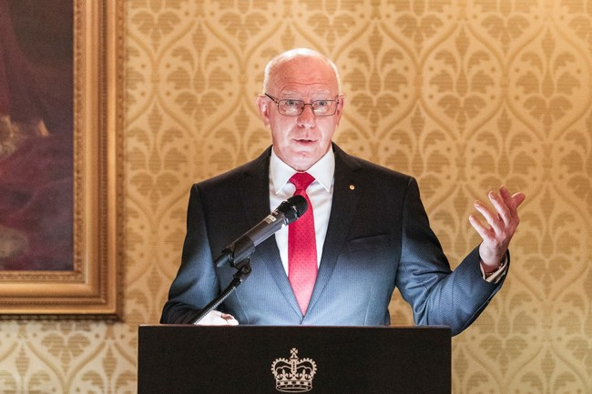 His Excellency General The Honourable David Hurley AC DSC (Retd) giving a speech during the official launch of the Governor Phillip Scholarship