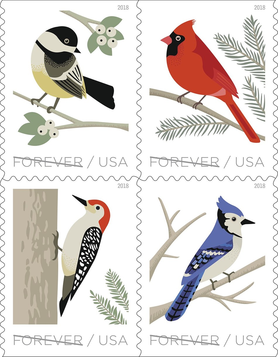 Birds in Winter Forever stamps feature four of winter's winged beauties – the black-capped chickadee, a northern cardinal, a blue jay and a red-bellied woodpecker.