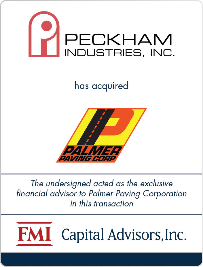 FMI Advises Palmer Paving Corporation in Sale to Peckham Industries, Inc.