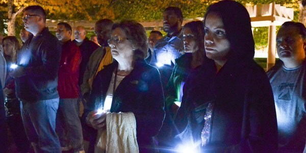 Helen Andujar, wife of fallen correctional officer Lieutenant Osvaldo Albarati, attends a vigil for correctional workers in Washington, D.C.