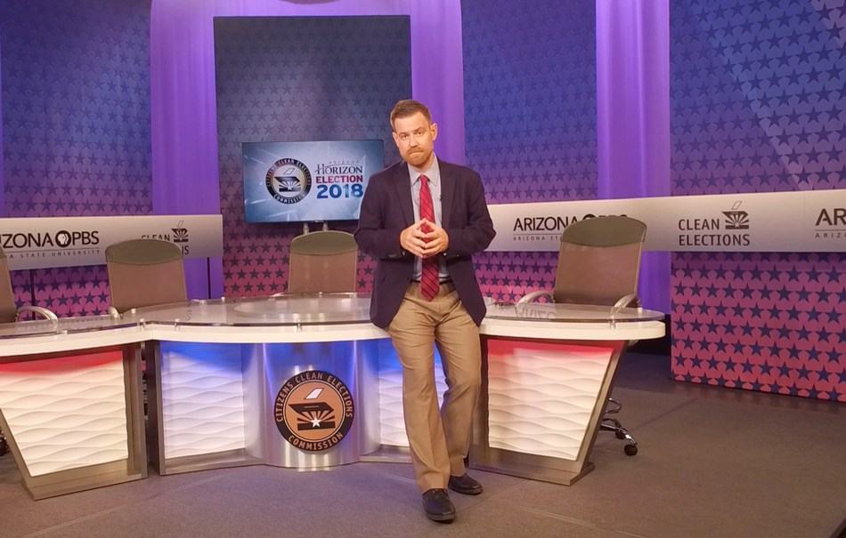 Citizens Clean Elections Commission (CCEC), Executive Director Tom Collins on the set of Arizona PBS where the CCEC-sponsored Arizona Gubernatorial debate is scheduled to air Sept. 24.