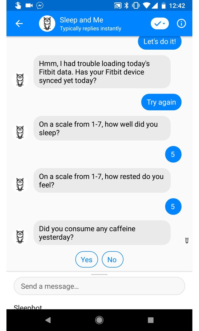 Track what helps or disrupts sleep through a Facebook Messenger conversation.