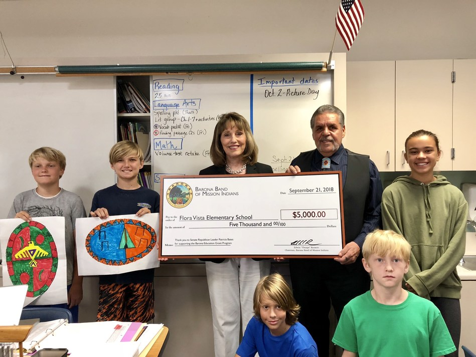 The Barona Band of Mission Indians awarded students and teachers at Flora Vista Elementary School a $5,000 Barona Education Grant for audio visual equipment.