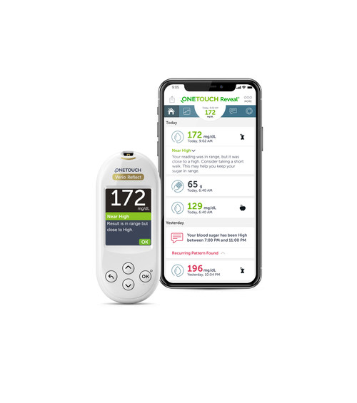 The OneTouch Verio Reflect™ system features the new Blood Sugar Mentor™, which analyzes and informs patients of blood glucose trends and potential causes and provides them with personalized guidance that could help them understand what causes their hypo or hyperglycemia.