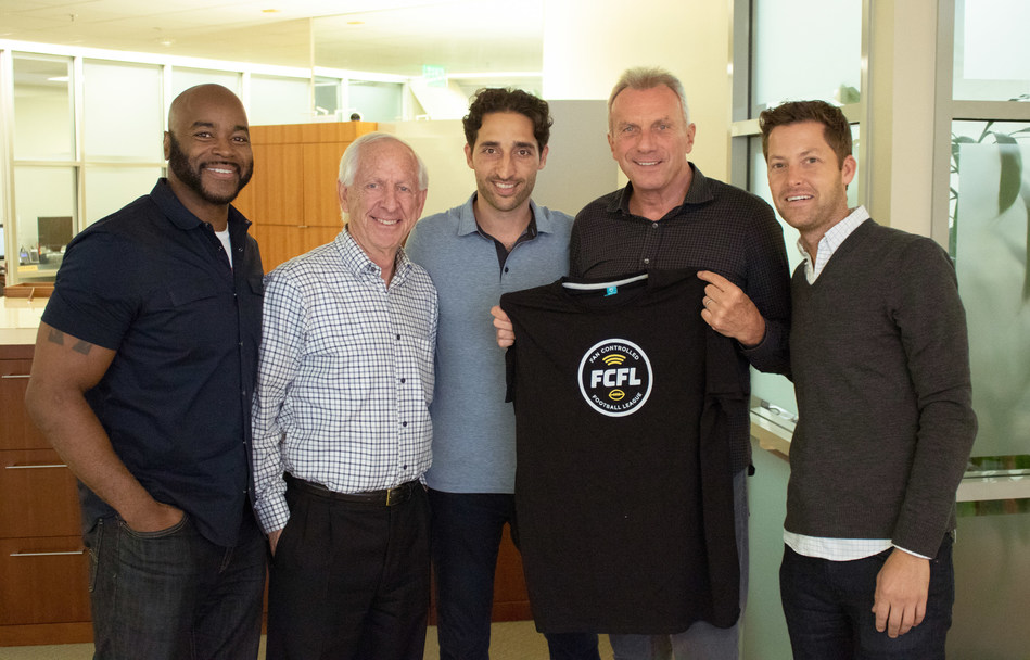 FCFL Team: From left to right, Co-Founder, Ray Austin; COO, Andy Dolich; CEO & Co-Founder Sohrob Farudi;  NFL Hall of Famer, Joe Montana; Co-Founder, Grant Cohen. Not pictured Co-Founder, Patrick Dees