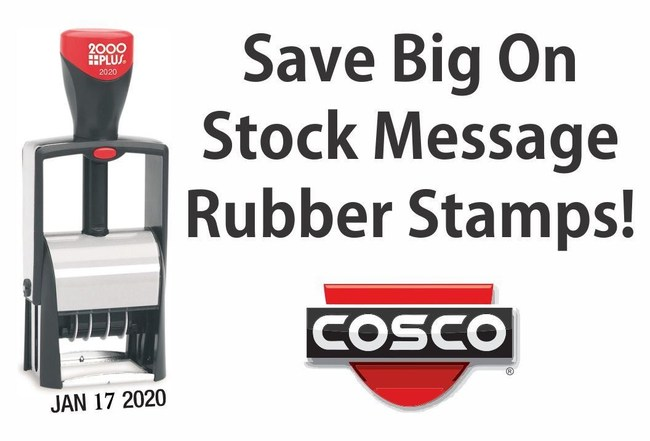 Rubber Stamp Champ offers 50 new Cosco stock message products.