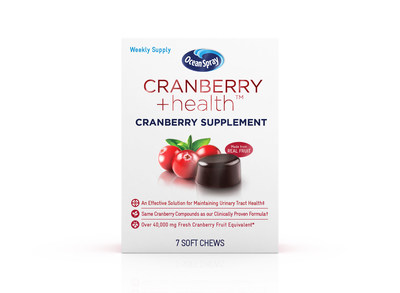 Ocean Spray® Cranberry +health™ Cranberry Supplements are a convenient, great-tasting daily supplement, formulated to help maintain a healthy urinary tract.