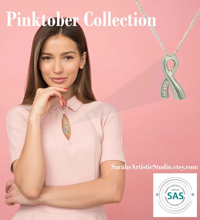 Collection release featuring Pink Ribbon stainless steel cremation urn necklace. Keep Your Loved Ones Close - Always.