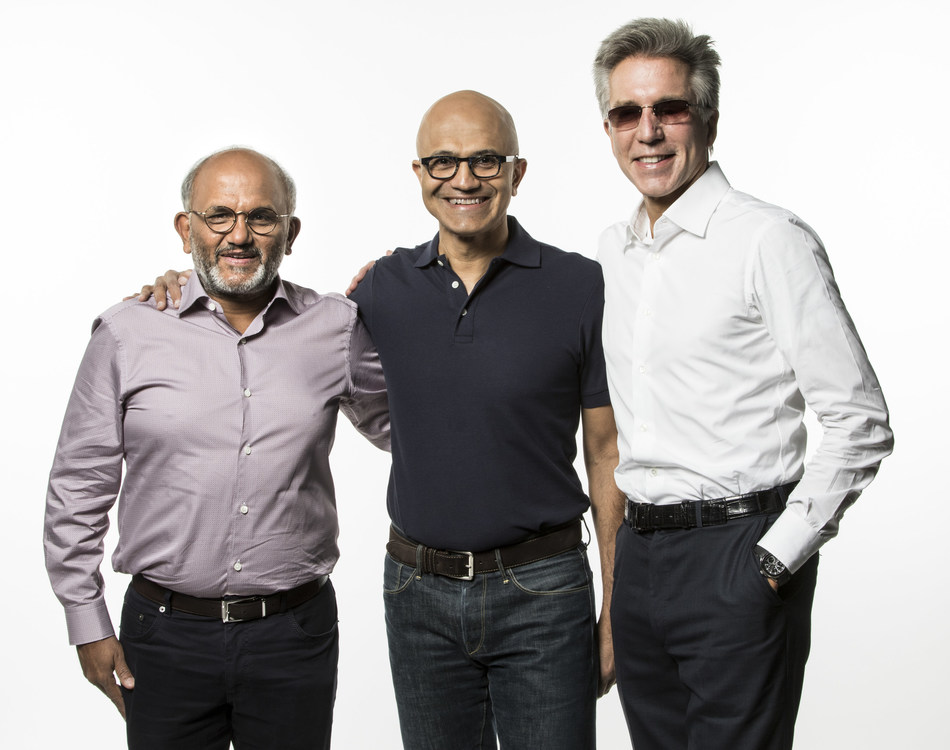 Shantanu Narayen, CEO, Adobe (left), Satya Nadella, CEO of Microsoft (center), and Bill McDermott, CEO of SAP (right), introduced the Open Data Initiative at the Microsoft Ignite conference.