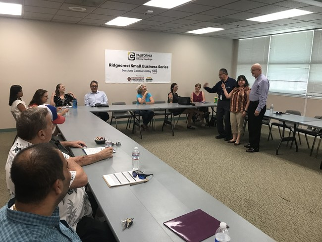 Peter Estrada, Economic Development Specialist from the Fresno District Office of the U.S. Small Business Administration (Standing, left) leads a certification session for entrepreneurs.