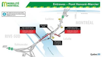 Pont Honoré-Mercier - Fermetures partielles de fins de semaine - Automne 2018 (Groupe CNW/Ministère des Transports, de la Mobilité durable et de l'Électrification des transports)