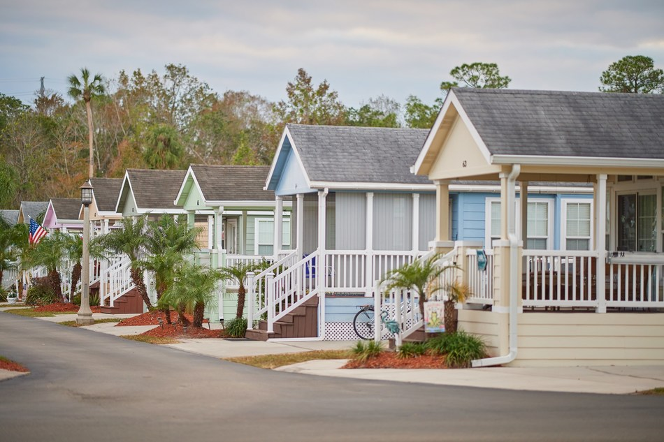 Whimsical yet practical, the newly renovated colorful cottages line the streets of the upgraded Tropical Palms RV Resort in Kissimmee, Florida. Starting at $129/night and less than five miles from Disney®, these vacation rentals offer a fun and affordable alternative for Orlando area vacationers.