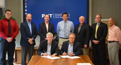 Oberg, Univ. Of Pitt Renew Additive Mfg. Research Program. Front:  Dave Rugaber (CTO, Oberg), David Vorp (Assoc. Dean for Research, Univ. of Pitt).  Back:  John Lemon (Visiting Scholar 3D AM, Oberg), Jason Oskin (AM Tech. Mgr., Oberg), David Bonvenuto (CEO, Oberg),  Dr. Albert To (Assoc. Prof. ME and MS, Univ. of Pitt), Brian Gleeson (Chairman, Dept. of ME & MS, Univ. of Pitt), Brian Vidic (Dir. of Partnerships at Univ. of Pitt), Chris Ubinger (Assoc. Dir. of Corp. Relations at Univ. of Pitt