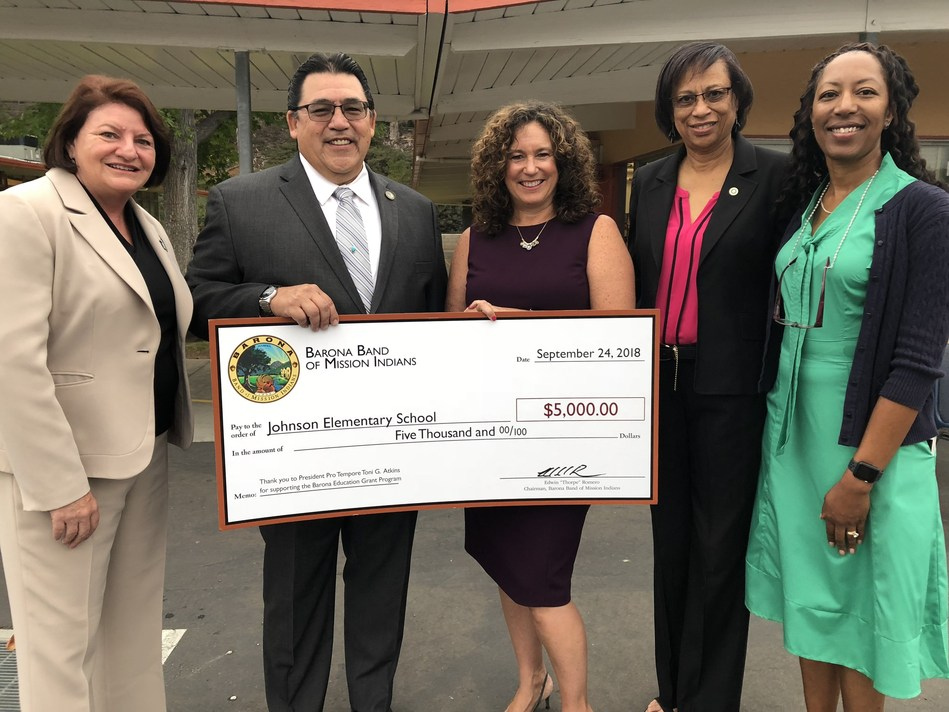 The Barona Band of Mission Indians has awarded students and teachers at Henry C. Johnson Elementary School in San Diego a $5,000 Barona Education Grant.