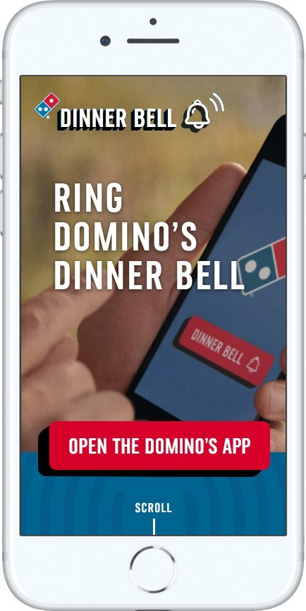 Getting everyone to the dinner table just became easier, thanks to the new dinner bell function on Domino's mobile app.