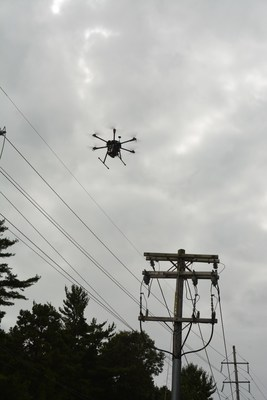 PSEG Long Island uses drone to inspect the electric transmission and distribution system in Brentwood, NY.
