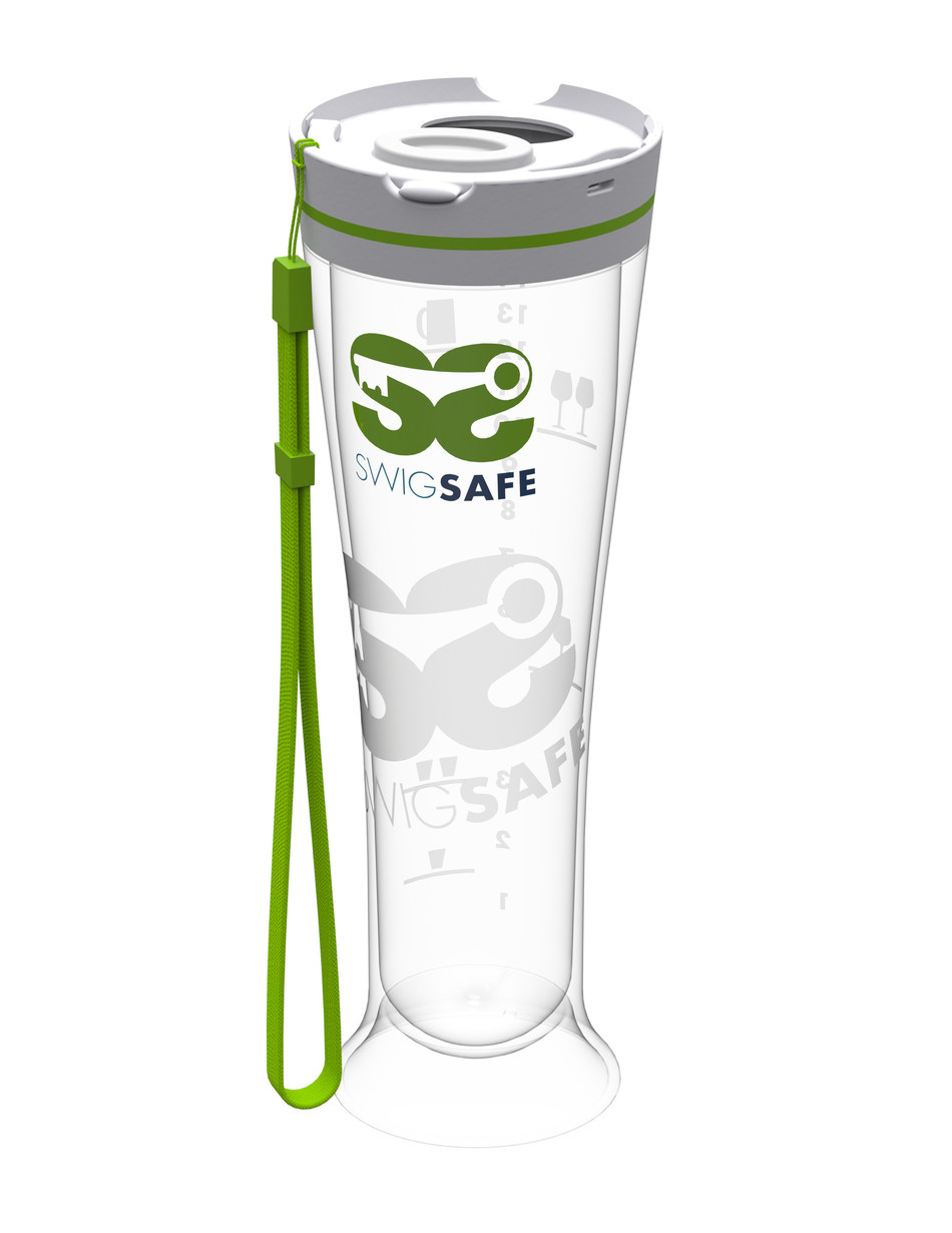 SWIGSAFE is a party tumbler with a secure lid to help protect your drink from being drugged and measurement icons to show how much alcohol you're drinking for a safer experience when out having fun.