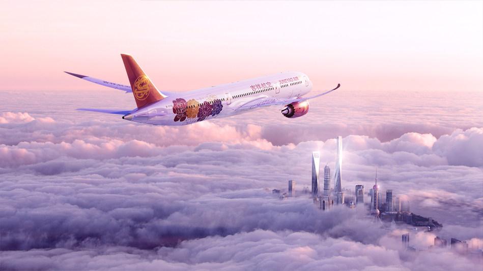 "Juneyao Air Boeing 787 ""Peony"" livery"