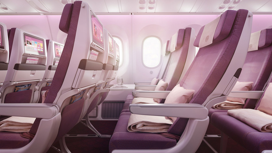 Recaro CL3710 seats in the Economy Class, together with 12-inch IFE provided by Panasonic Avionics