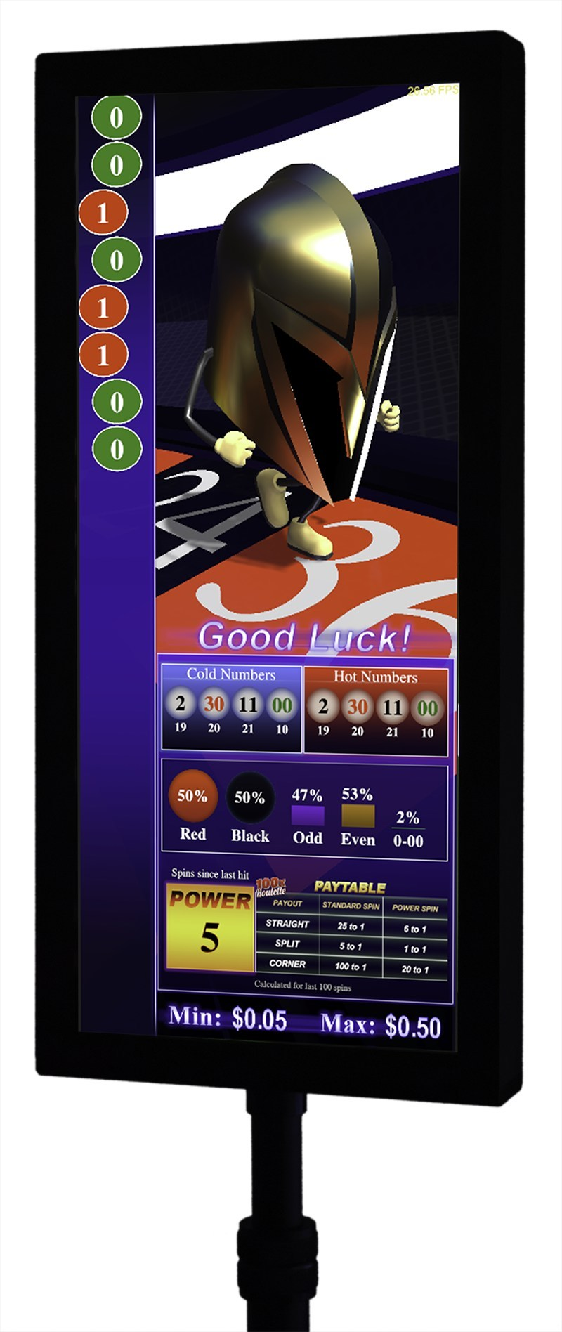 Vegas Golden Knights-inspired animation on AGS roulette signage.