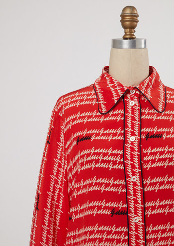 Red Gucci printed blouse from Marni Senofonte's eBay Stylist Sale collection. Proceeds benefit the Good+ Foundation.