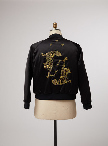 Add a bit of edge to any outfit with this black bomber with gold tiger detailing on the back, from Ilaria Urbinati's eBay Stylist Sale collection. Proceeds benefit the ACLU.