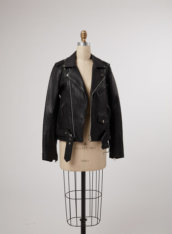This black moto style leather jacket from Karla Welch's eBay Stylist Sale has been worn by many a celebrity and is always a favorite. Proceeds benefit the Trevor Project.