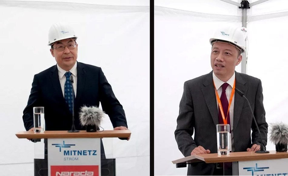 The Minister Counselor of the Chinese Embassy in Germany, Wang Weidong; and the President of Narada, Chen Bo