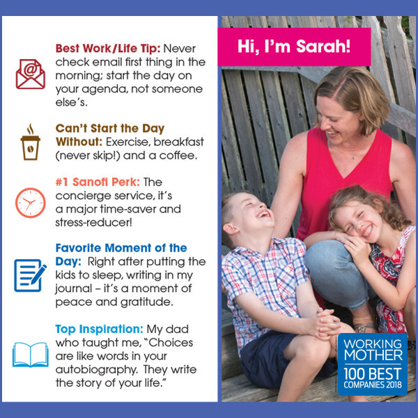 2018 Sanofi US Working Mother of the Year Sarah Burke Mullins and her children