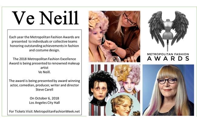 Steve Carell will present Oscar winning makeup artist Ve Neill at the Metropolitan Fashion Week Closing Gala