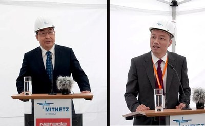 O ministro-conselheiro da embaixada chinesa na Alemanha, Wang Weidong, e o presidente da Narada, Chen Bo (PRNewsfoto/Narada Power Source Co.,Ltd)