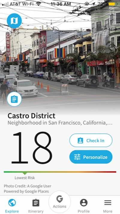 Overall Safety home screen shot for Castro District, San Francisco CA